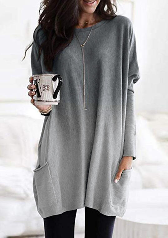 Gradient Color Long Sleeve Pocket Mini Dress without Necklace – Gray