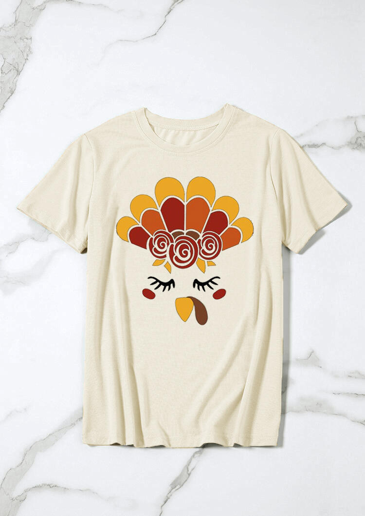 Thanksgiving Turkey Face T-Shirt Tee - Apricot