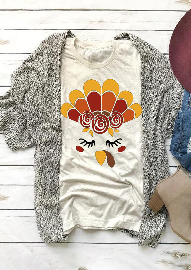 Tees T-shirts Thanksgiving Turkey Face T-Shirt Tee - Apricot. Size: M,L фото