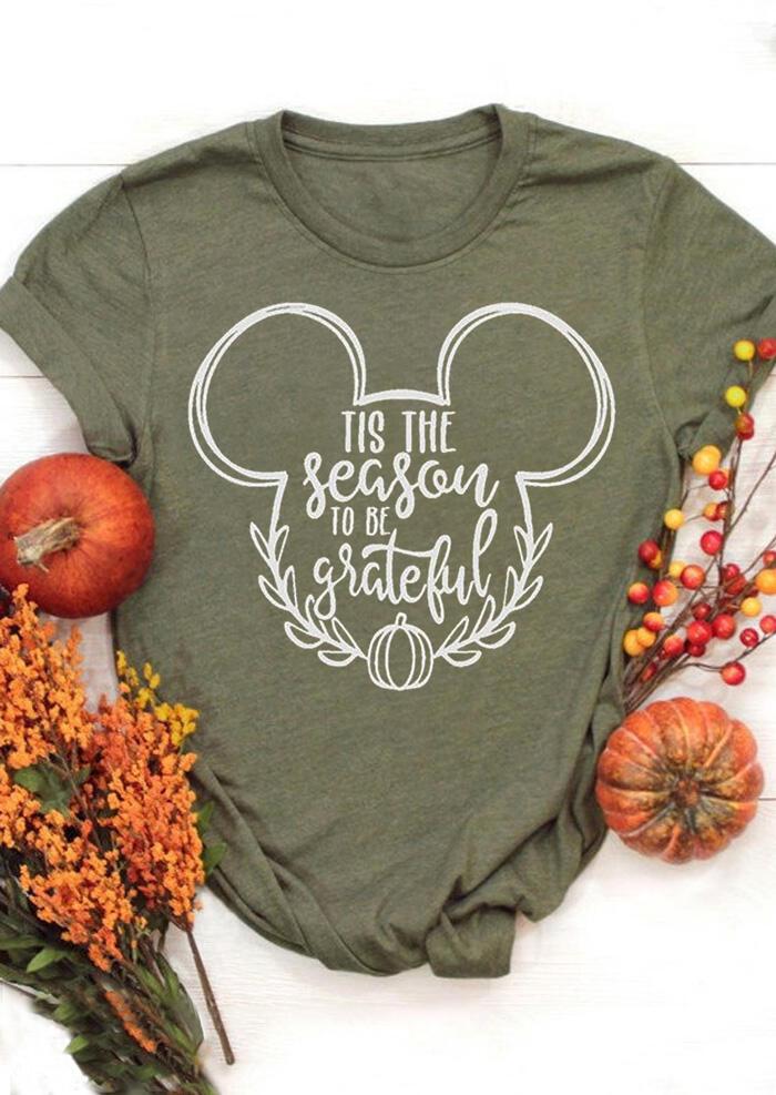 Tis The Season To Be Grateful Pumpkin T-Shirt Tee – Army Green