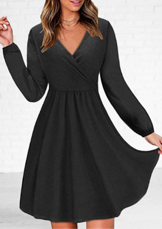 Solid Wrap Mini Dress without Necklace – Black