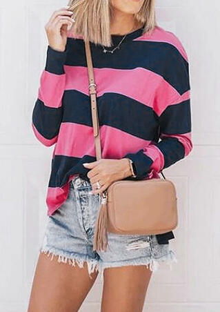 Striped O-Neck Blouse without Necklace