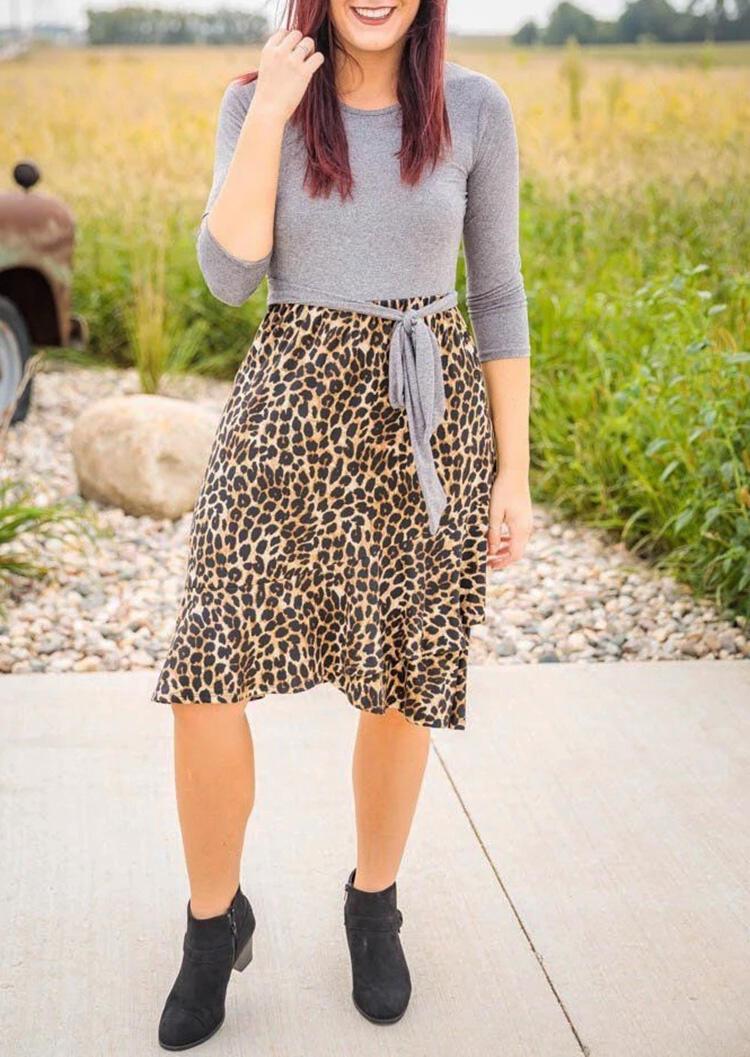 Leopard Printed Splicing Tie Casual Dress – Gray