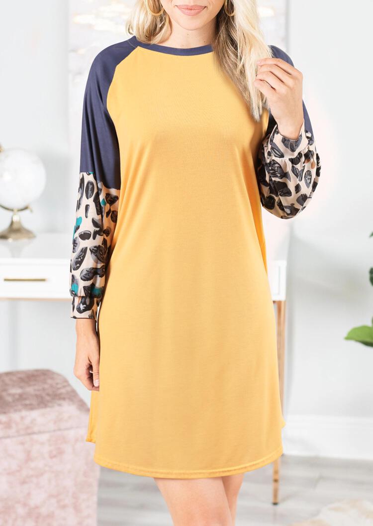 Leopard Printed Splicing Mini Dress – Yellow