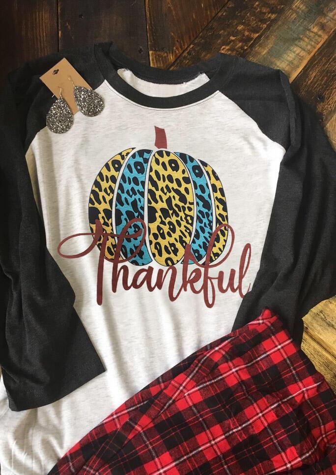 Leopard Printed Splicing Pumpkin Thankful T-Shirt Tee – Light Grey