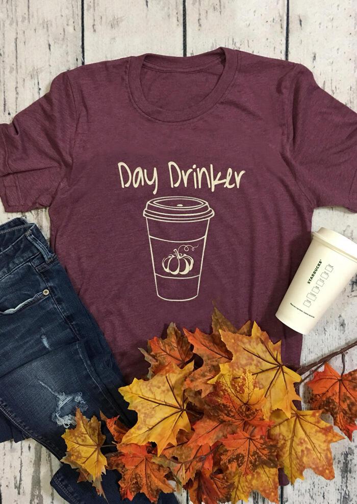 Day Drinker Pumpkin O-Neck T-Shirt Tee – Cameo Brown