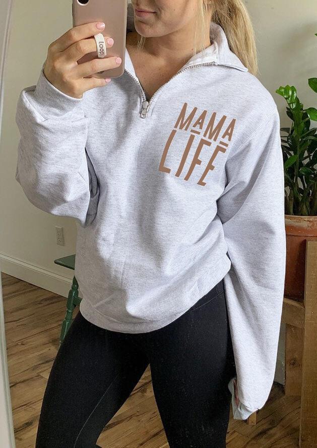 Sweatshirts Mama Life Zipper Sweatshirt in Light Grey. Size: S,M,L,XL,2XL,3XL фото