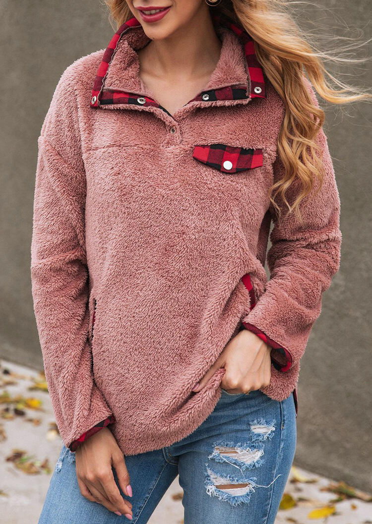 Plaid Splicing Button Pocket Plush Sweatshirt Without Chest Pocket – Cameo Brown
