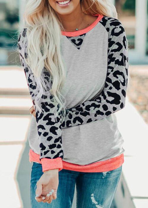 Leopard Splicing O-Neck T-Shirt Tee - Light Grey