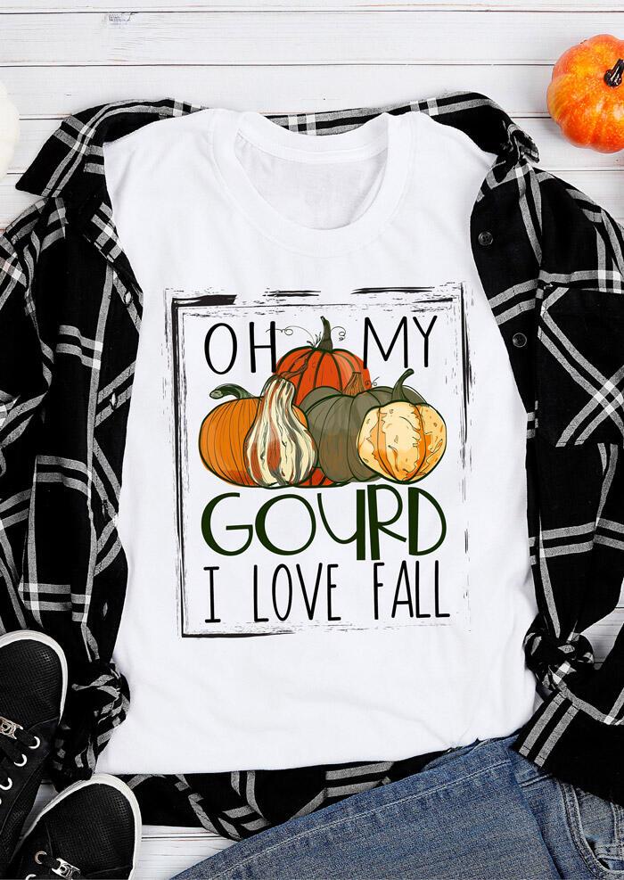 Oh My Gourd Pumpkin I Love Fall T-Shirt Tee – White
