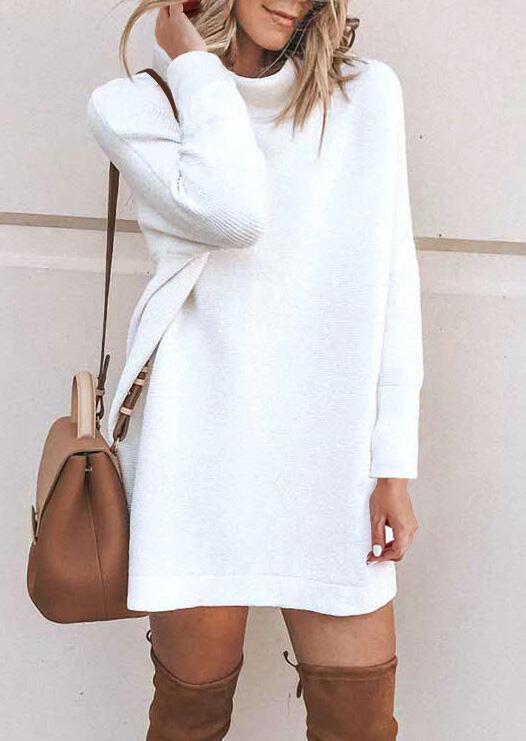 Solid Drop-shoulder Turtleneck Mini Dress – White