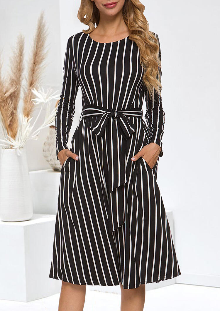 Striped Tie Pocket Long Sleeve Casual Dress – Black