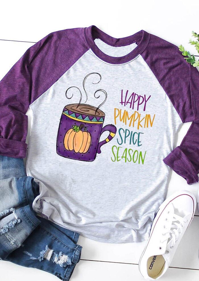 Happy Pumpkin Spice Season T-Shirt Tee – Light Grey