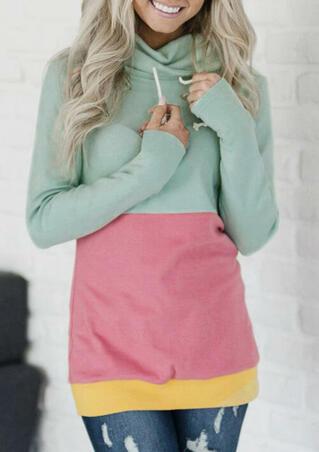 Color Block Drawstring Cowl Neck Sweatshirt - Light Green