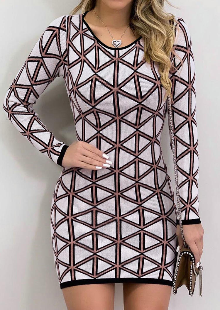 Geometric Printed Bodycon Dress without Necklace – Multicolor