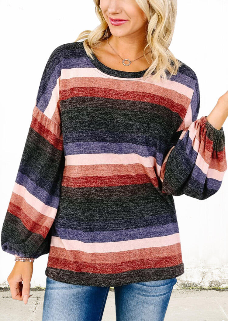 Colorful Striped Splicing Blouse without Necklace