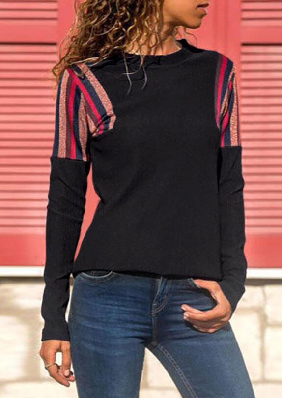 Striped Splicing T-Shirt Tee – Black