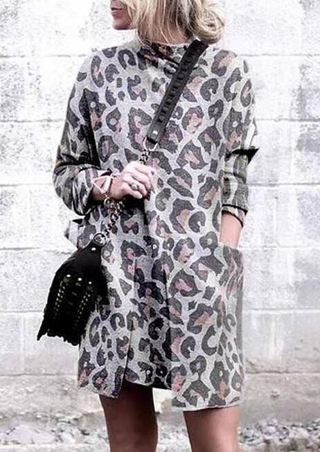 Leopard Printed Pocket Long Sleeve Mini Dress