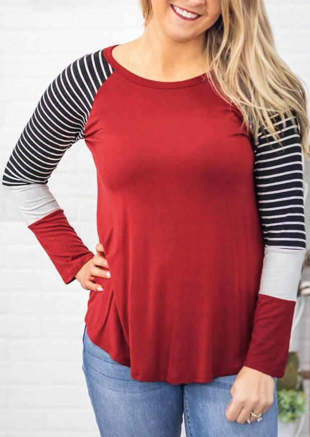 Color Block Striped Splicing O-Neck Blouse – Red