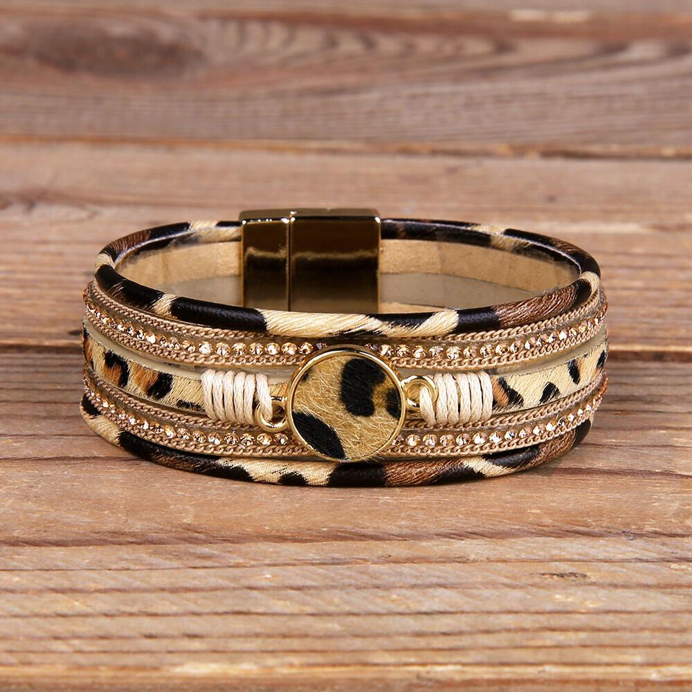 Leopard Printed Magnet Buckle Bracelet