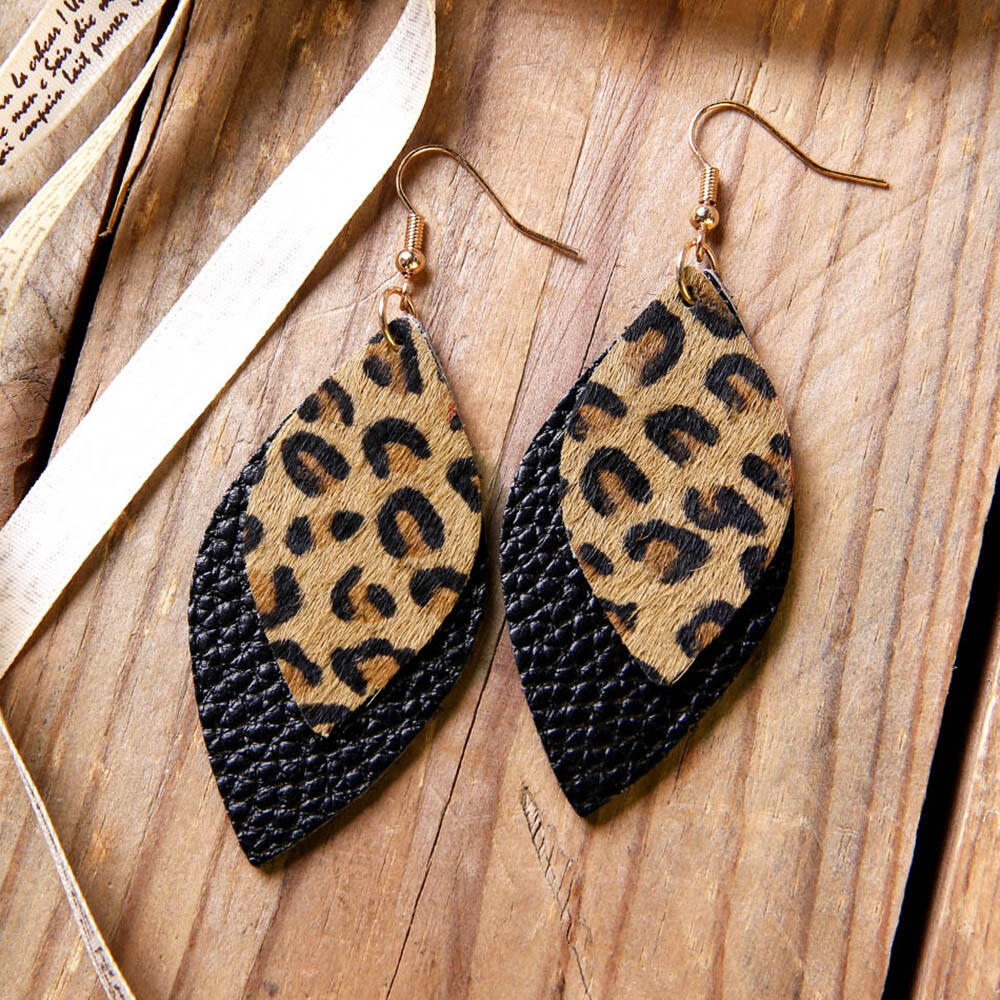Leopard Printed Double-Layered Leather Earrings фото