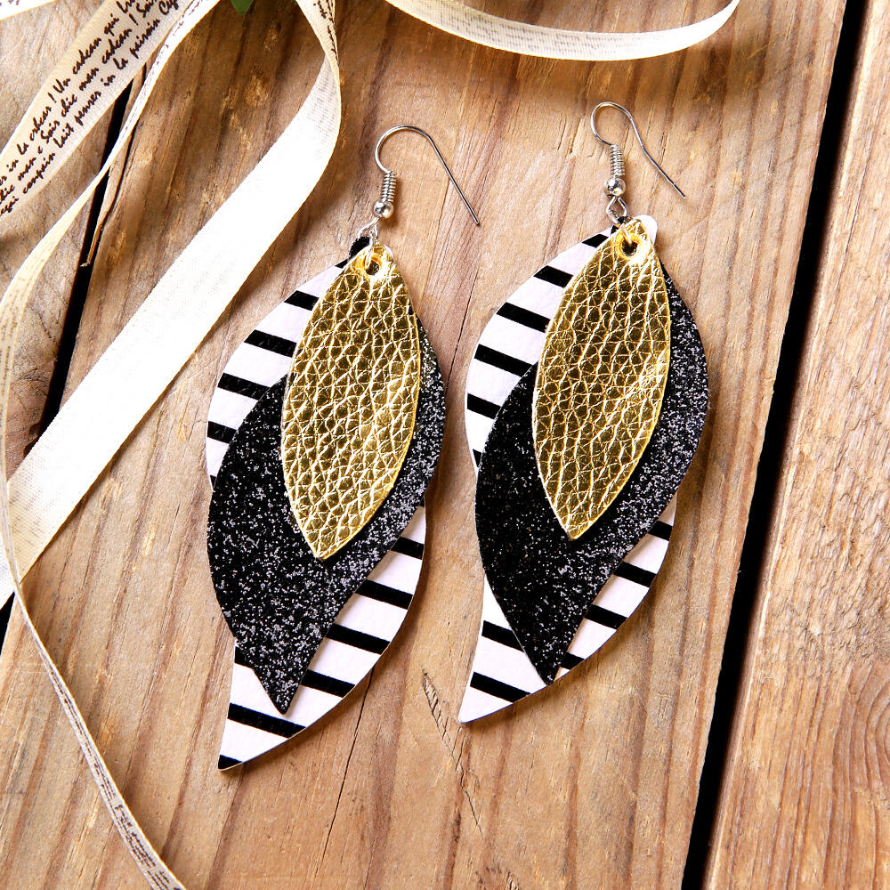 Three-Layered Sequined Striped Leaf Earrings фото
