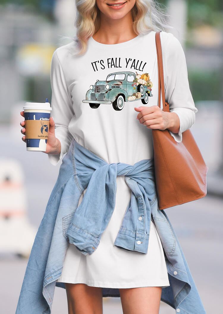 It's Fall Y'all Mini Dress – White