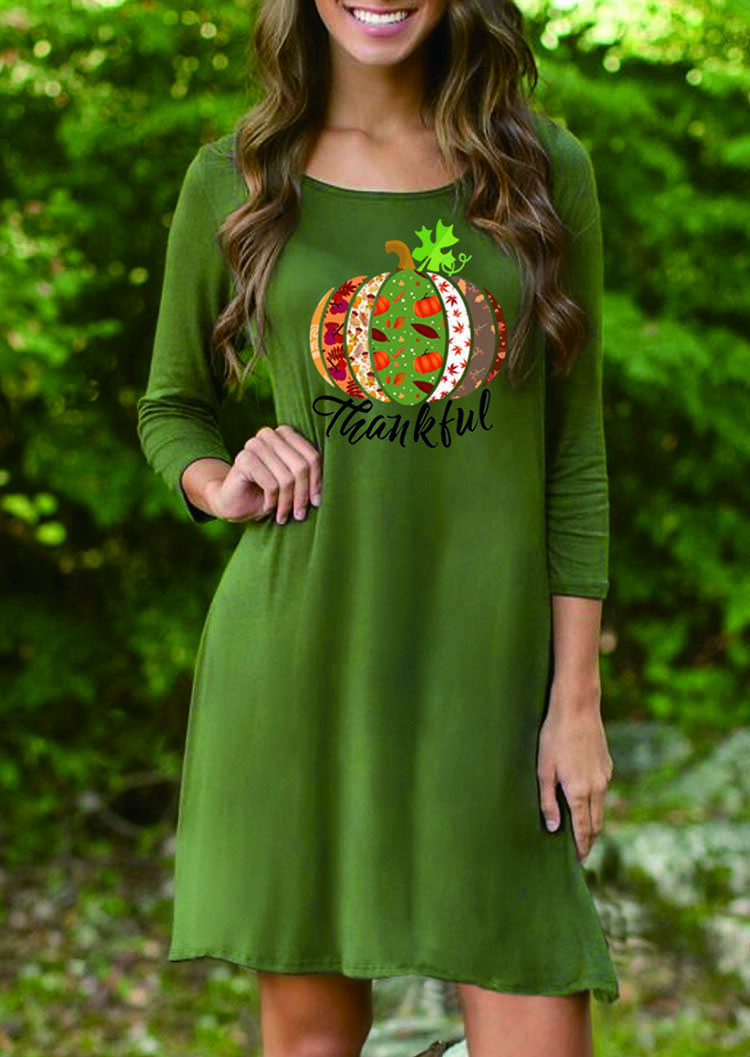 Thankful Pumpkin Mini Dress – Green