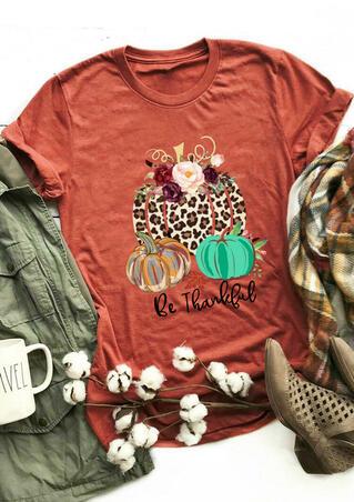 Be Thankful Leopard Printed Splicing Pumpkin T-Shirt Tee - Brick Red