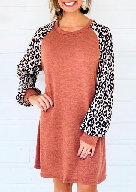 Leopard Printed Splicing Mini Dress – Brick Red
