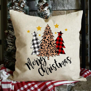 Plaid Leopard Printed Tree Merry Christmas Pillowcase without Pillow