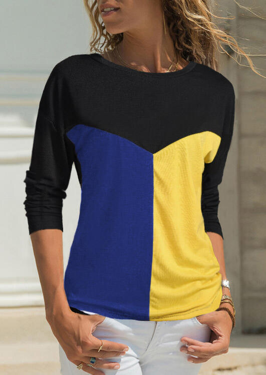 Tees T-shirts Color Block Splicing O-Neck T-Shirt Tee without Necklace - Blue. Size: S,2XL,3XL фото