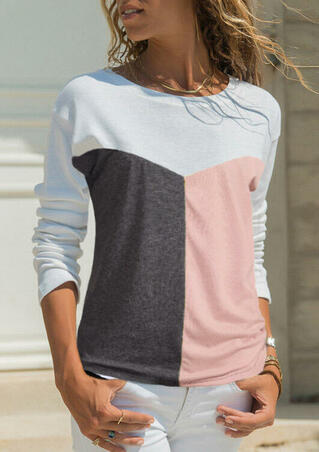 Color Block Splicing O-Neck T-Shirt Tee without Necklace - Pink