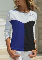 Color Block Splicing O-Neck T-Shirt
