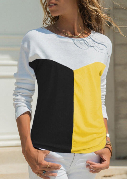White Black Yellow Color Block Patchwork Long Sleeves Crew Neck T-Shirt in Yellow. Size: S,2XL,3XL фото