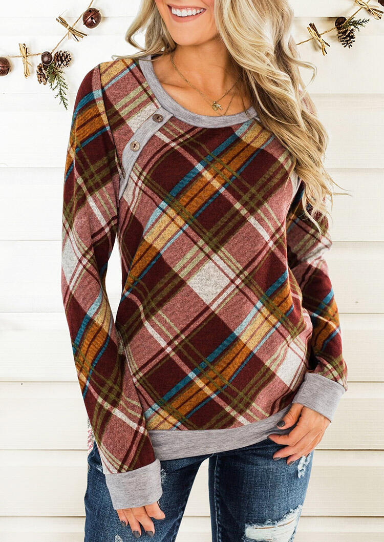 Plaid Splicing Button Blouse without Necklace фото