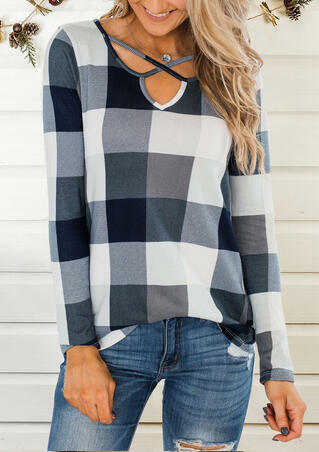 Plaid Splicing Criss-Cross Blouse without Necklace