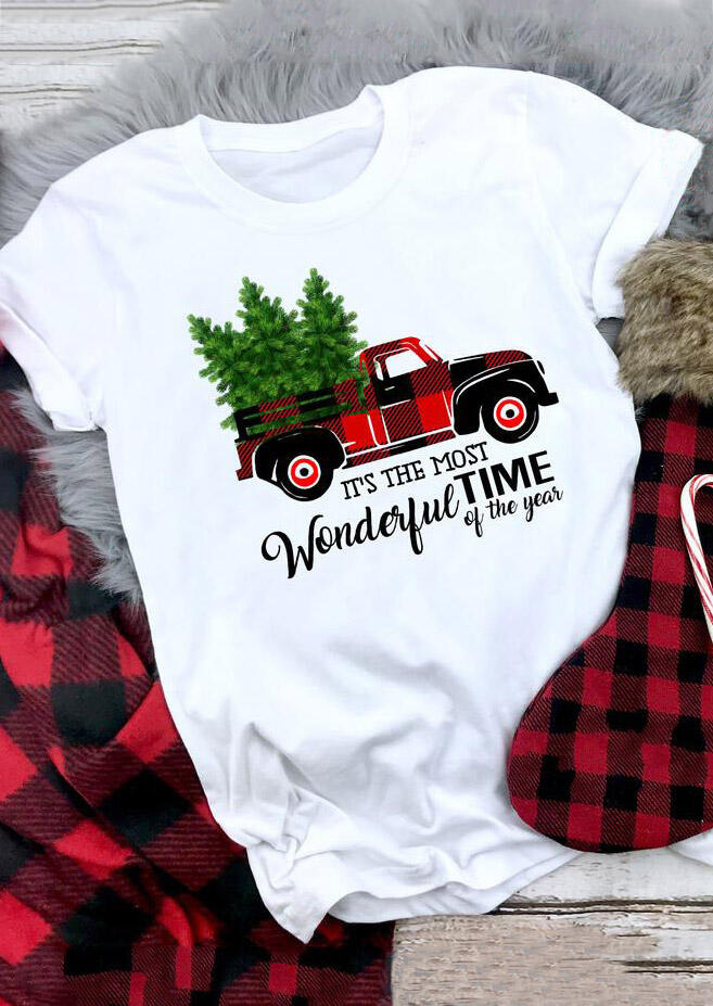 Buffalo Plaid Truck Wonderful Time T-Shirt Tee – White