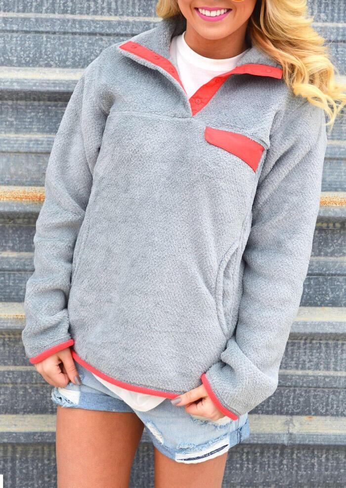Color Block Splicing Pocket Warm Sweatshirt – Gray