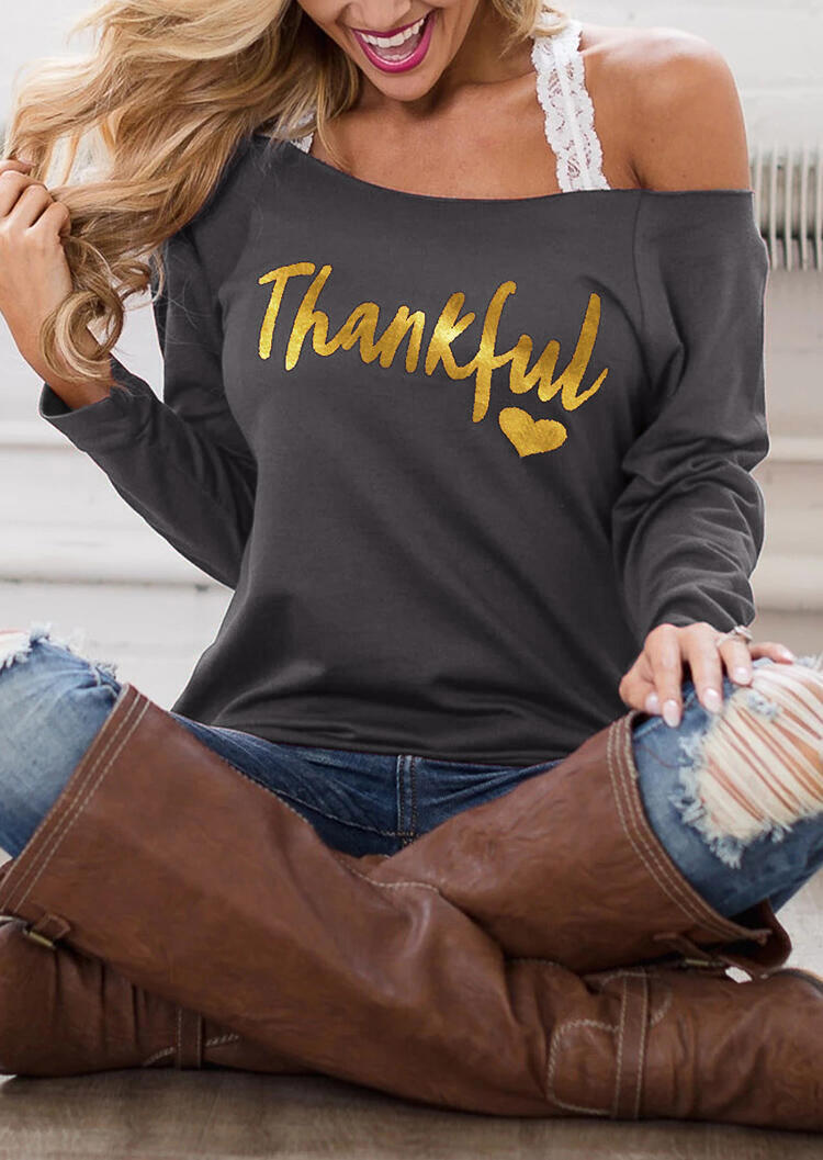 Thankful Heart Off Shoulder Blouse without Strap – Gray