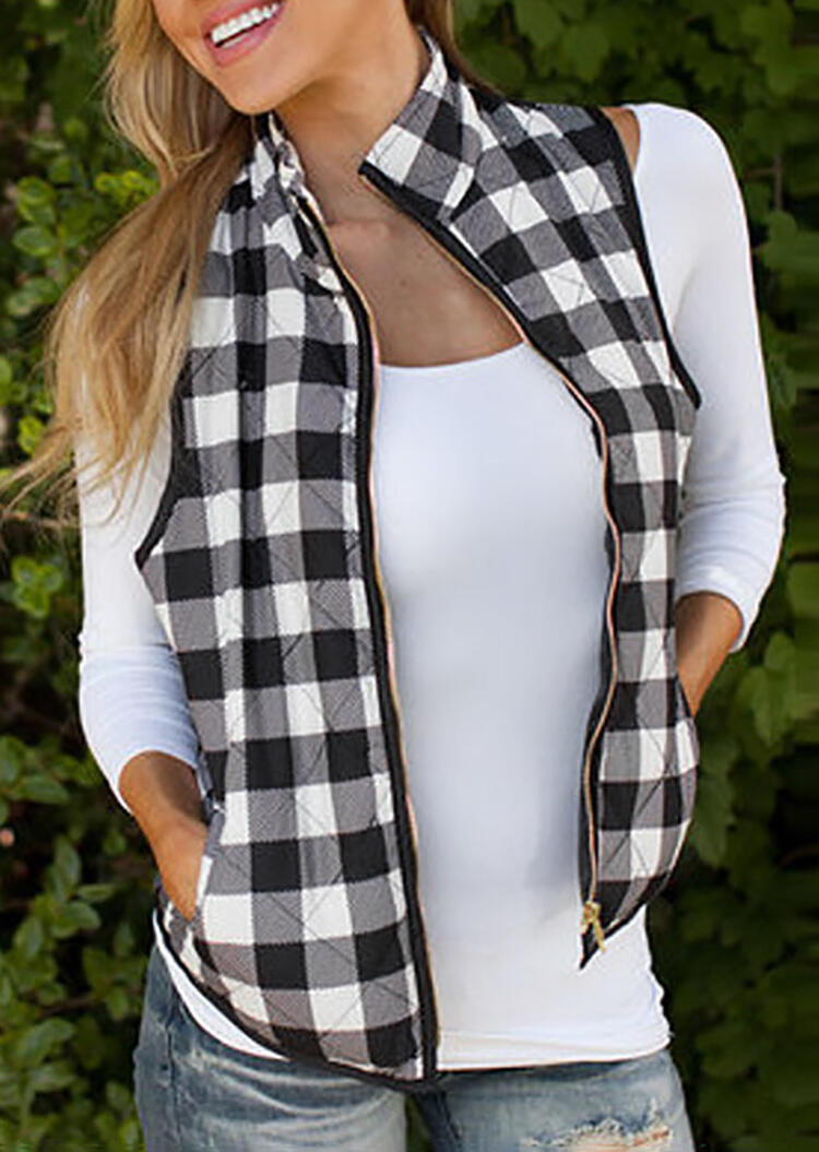 Coats Plaid Pocket Sleeveless Vest Coat without Necklace in Black. Size: S,M,L,XL,2XL фото