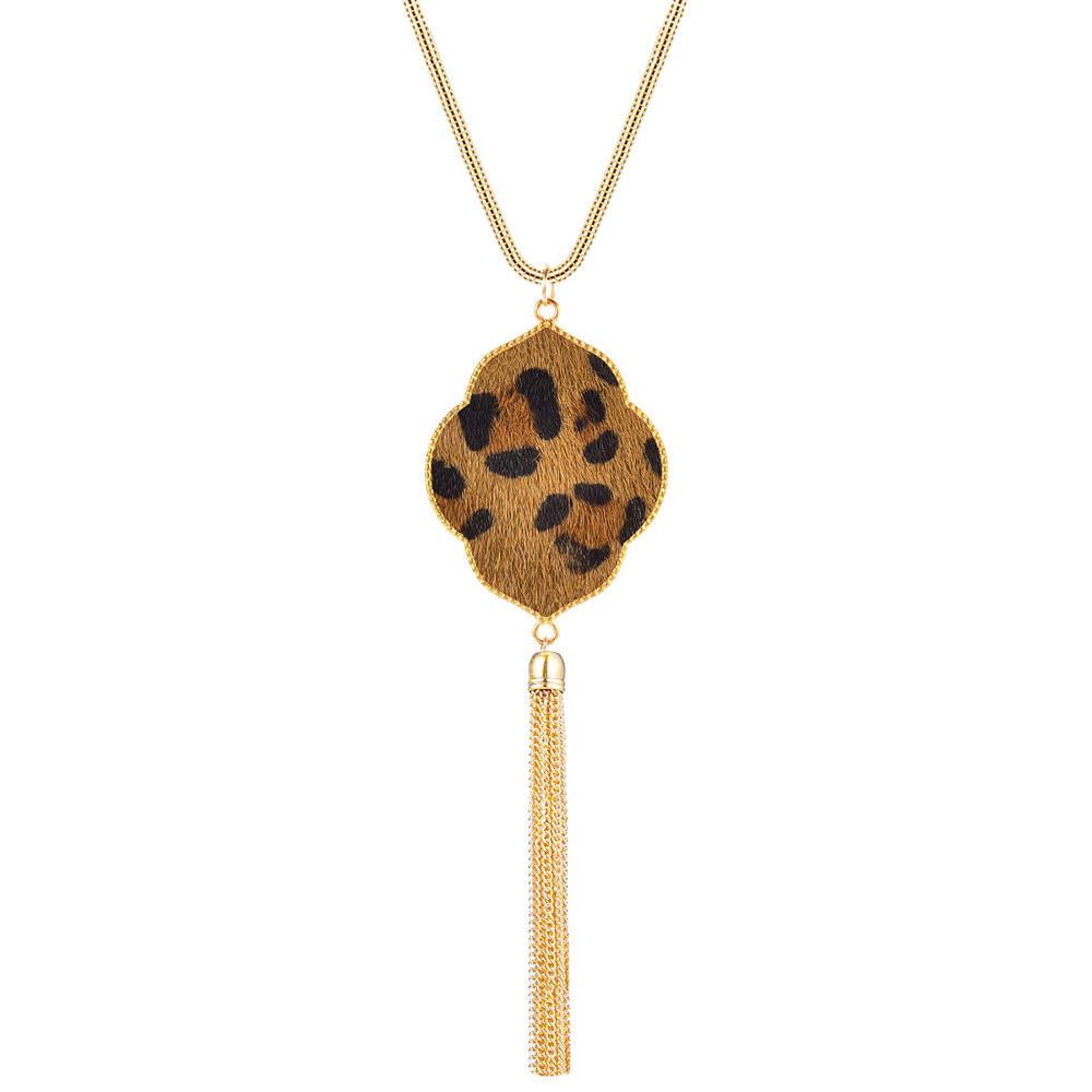 Leopard Printed Faux Fur Tassel Necklace фото