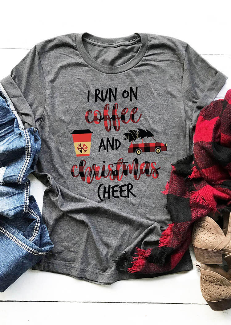 Plaid I Run On Coffee and Christmas Cheer T-Shirt Tee – Gray