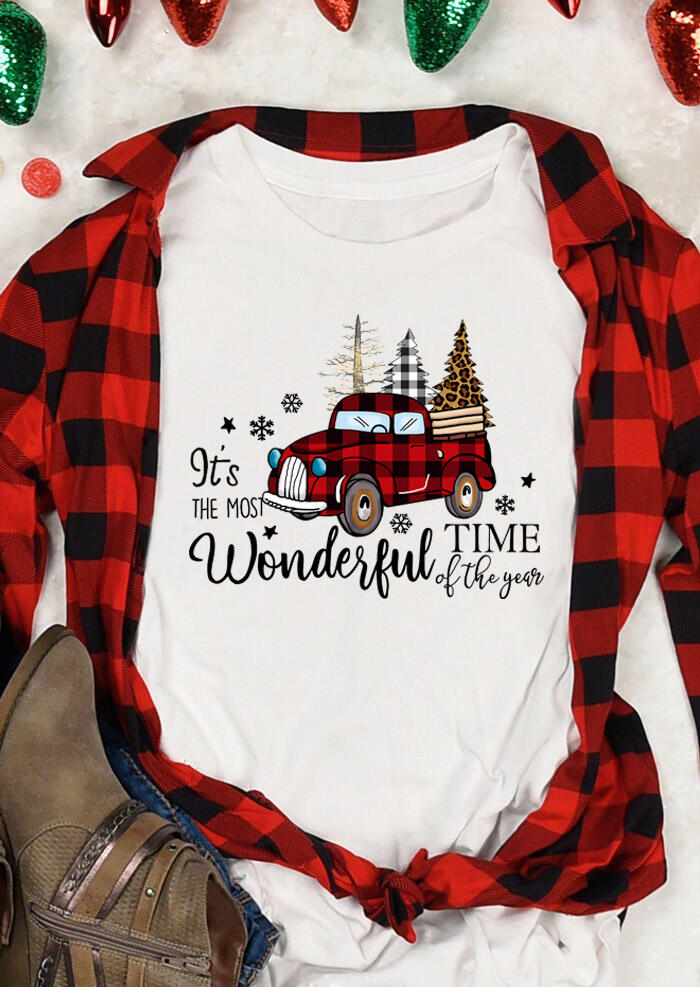 Tees T-shirts It's The Most Wonderful Time T-Shirt Tee in White. Size: S,M фото