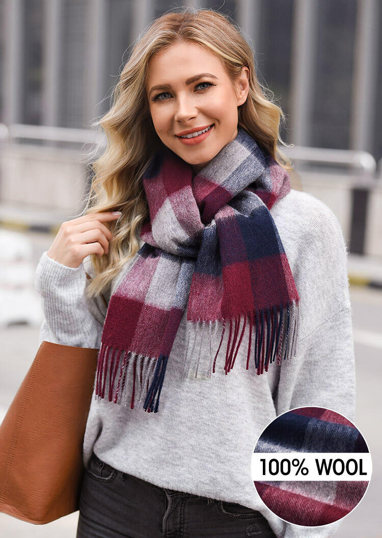 Scarves Feelily Plaid Tartan Tassel Warm 100% Wool Scarf in Red. Size: One Size фото