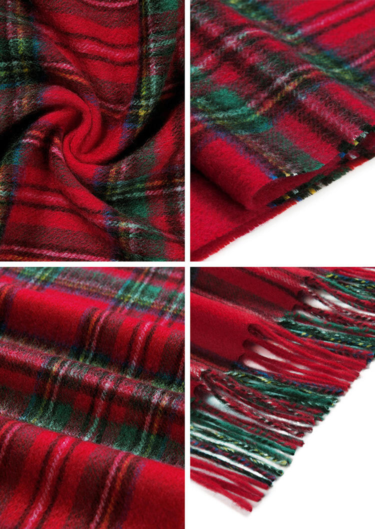 Feelily Plaid Tartan Tassel 100% Wool Scarf