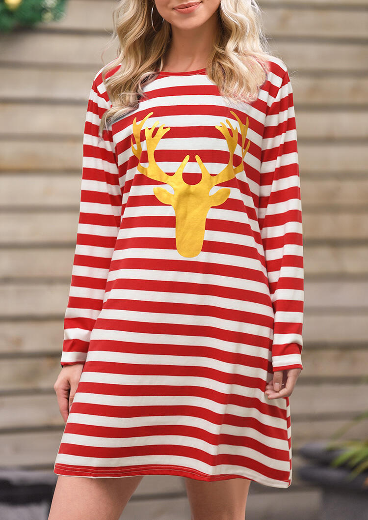 Christmas Reindeer Striped Splicing Mini Dress – Red