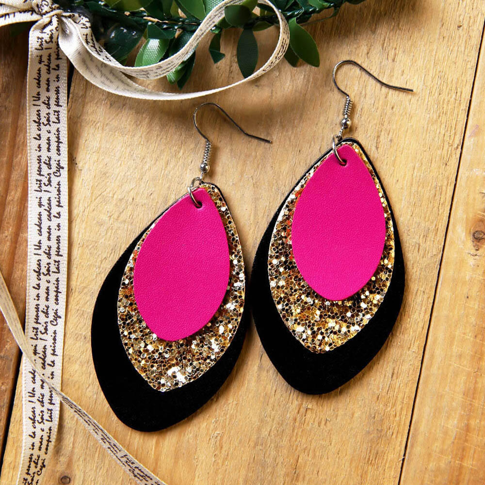 Three-Layered Sequined Leather Earrings фото