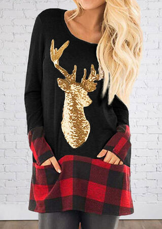 Elk Head Plaid Pocket Blouse - Black