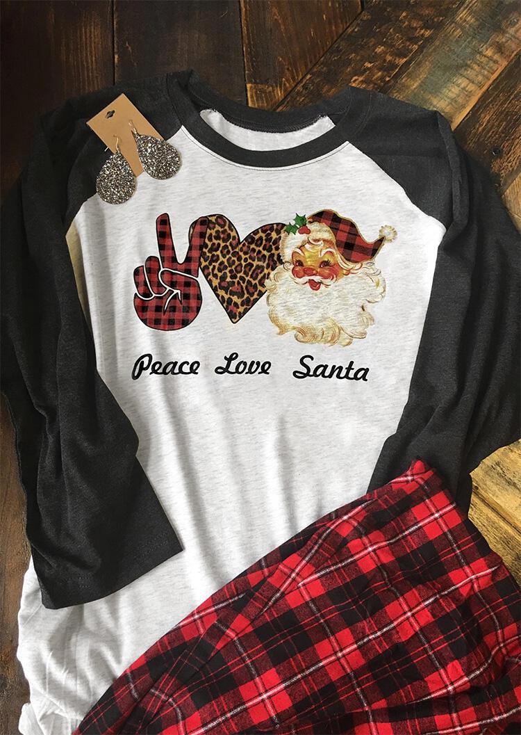Peace Love Santa Plaid Leopard Splicing T-Shirt Tee – Gray